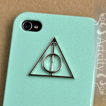 Harry Potter Deathly Hallows Iphone Case, Light Green Iphone 4 case, Iphone 4s Case, iphone case Cover, Hard case