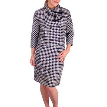 Vintage Navy Blue & White Houndstooth Wool Suit Boxy Jacket 1960s 40-26-37