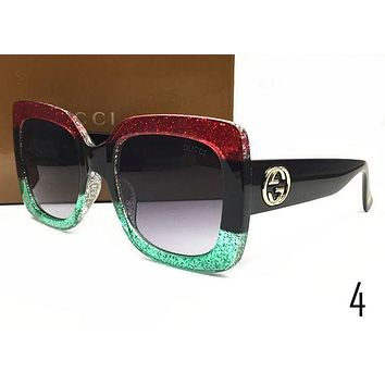 GUCCI Ladies Men Simple Summer Sun Shades Eyeglasses Glasses Sunglasses Red Green I