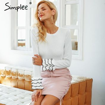 Ruffled Butterfly Long-Sleeve Pullover Sweater
