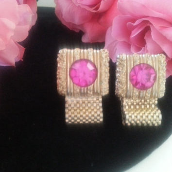 Swank Pink Rhinestone Cuff links, Designer Signed 1960's Cufflinks, Old Hollywood Glam, Hollywood Regency, Gift For Him, Mad Men Mod,