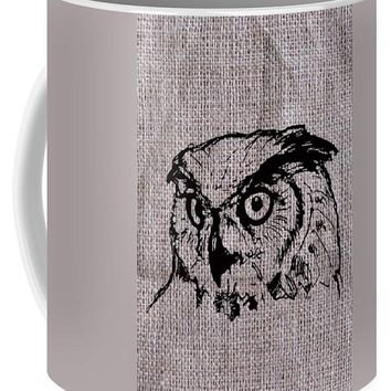 Owl On Burlap - Mug