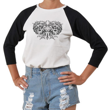 Women Aries skull with horns Printed Short Sleeves T-shirt WTS_03