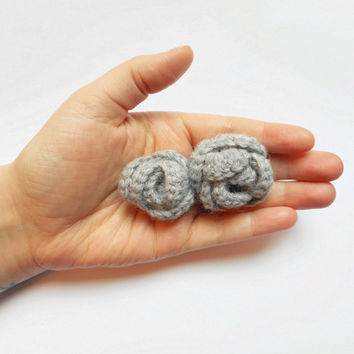 Crochet Double Rose Hair Clip Barrette in Grey, ready to ship.