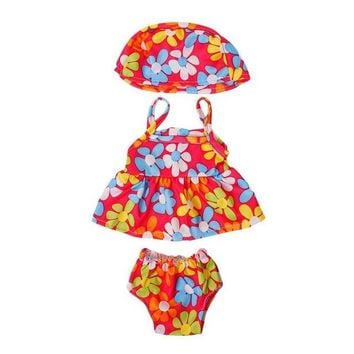 Swimming Pool beach Dongzhur 18 Inch Doll Clothes And Accessories Colored Flowers Swimming Hat Clothes Pants Suit American Girl Doll Clothes DressSwimming Pool beach KO_14_1