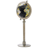 """Black Ocean"" Globe with Steel Stand"