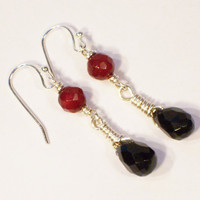 Obsidian and Carnelian Earrings, Wire Wrapped Earrings, Gemstone, Black and Red Earrings, Handmade Earrings, UK Seller
