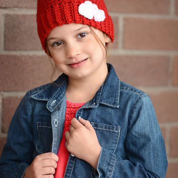 Messy Bun Hat - Crochet Messy Bun beanie - Messy Bun Hat for girls - Ponytail hat - Gift for her - Ponytail Beanie - Heart Embellishment