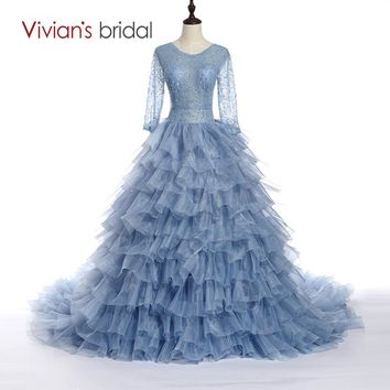 Bridal New Design Luxury Princess Ball Gown Dress Long Sleeve Ruffles Wedding Dress With Chapel Train