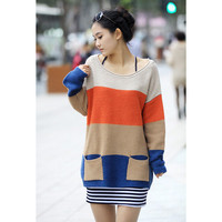 Women's Fashion Color Matching Pocket Loose Pullover Color Knitted Sweater