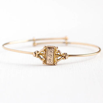 Antique Initial Bracelet - Vintage Rose Gold Filled Edwardian Letters AYR Dainty Adjustable Bangle - 1910s Monogram Sleek GF Petite Jewelry