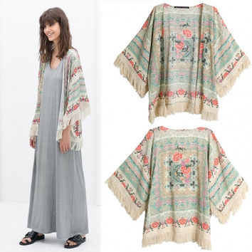Women's Vintage Retro Ladies Hippie Loose Style Kimono Floral Coat Cape Blazer Jacket Tops