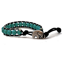 Wrap Leather Breaded Blue Turquoise Elephant Handmade 8mm Natural Bead Bracelet