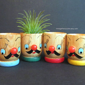 Vintage Egg Cups, Painted Wood Egg Cups by JAPAN, Retro Kitsch Kitchen