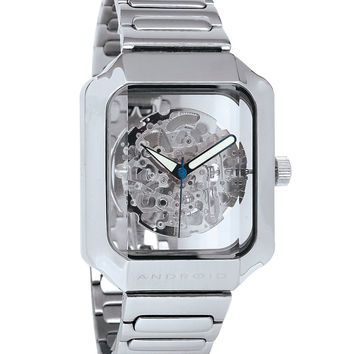 Android AD275AS Men's Mystique Silver Skeleton Dial Stainless Steel Watch