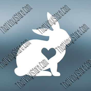 Preppy Rabbit Heart Love Decal | Bunny Decal Decal | Rabbit Decal Decal | Preppy Easter Decal| Preppy Animal Decal | Love Animal Decal | 564