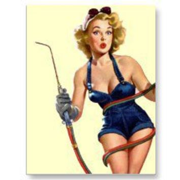Sexy Vintage Welding Pin Up Woman Post Card