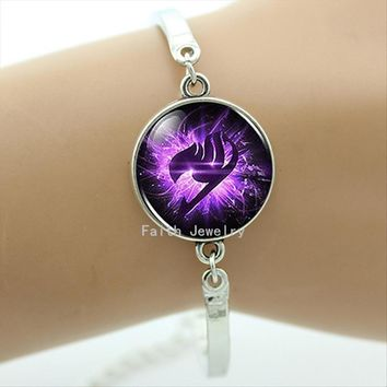 TAFREE Anime Fairy Tail Guild Marks Purple Wing Bracelet Steampunk Drama Mysteries BILL CIPHER WHEEL Jewelry women BA003