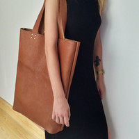 Large Leather Tote Bag-Shopper -Handstitched  High Quality Leather Tote Bag-Everyday BagLeather Satchel