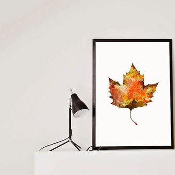 Maple Leaf Fall Watercolor Art Print Fall Foliage fall leaves Maple Fall Decor art Autumn Thanksgiving Wall Art Fall colors yellow leaves