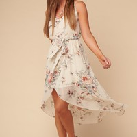Live Simply Floral High-Low Dress (Cream)
