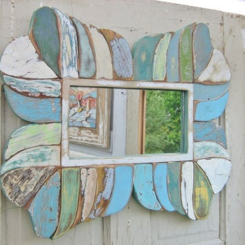 Mirror Reclaimed Wood Mosaic Art Blue Green Distressed Rustic Primitive
