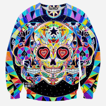 Space Galaxy Hipster Skulls Crew Neck Sweatshirt Men & Women King Of Hearts Spades Skulls In Space Harajuku Style All Over Print Blue Colorful Sweater