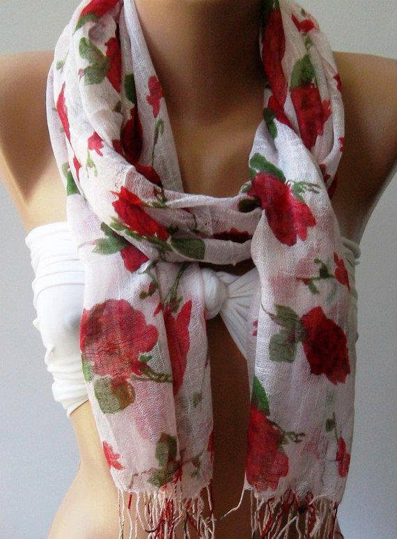 Red  Flowers  - Silky Touch - Elegance Shawl - Scarf-------soft and light,