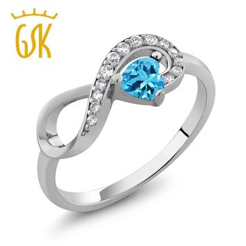 GemStoneKing 0.44 Ct Heart Shape Natural Blue Topaz Infinity Ring Women's 925 Sterling Silver Ring Fine Jewelry