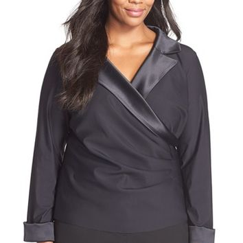 Plus Size Women's Alex Evenings Satin Trim Side Pleat Surplice Blouse,