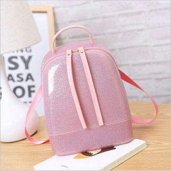 2017 Jelly Backpack Cute Candy Backpacks For Teenage Girls Plastic Silicone Waterproof Transparent Backpack PVC School Women Bag