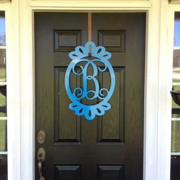 Metal Monogram Door Hanger,  Monogram door wreath, outdoor wreath, front door wreath, monogrammed wreath, monogrammed letters, door decor