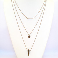 Bronze Quartz Layered Necklace Set