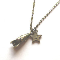 Antique bronze spaceship rocket and star charm necklace