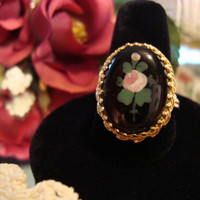 Onyx Ring Vintage Jewelry Painted Rose Motif PV
