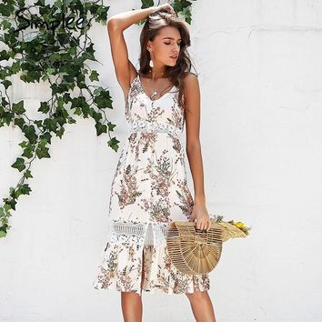 Simplee Strap floral print boho dress women Hollow out lace summer dress female V neck streetwear midi casual dress vestidos