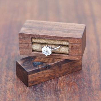 Ring box made from black walnut and Australian coolabah burl - engagement ring box - proposal ring box - READY TO SHIP