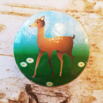 Fawn Knob Drawer Pulls, Nursery Wood Dresser Knobs, Woodland Animal Cabinet Pull Handles, Baby's Room, Baby Deer Dresser Knob, Made To Order
