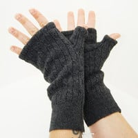 Fingerless Mitts in Dark Grey Cable Knit Merino - Recycled Felted Wool