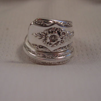 A Beautiful Wrapped Spoon Ring Size 6 handmade Fork and Spoon Jewelry t441