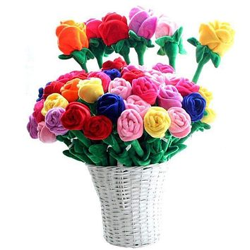 10pcs/lot Plush Rose Flower Bouquet Valentine's Gift Stuffed Toy For Wedding Decoration