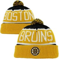 '47 Brand Boston Bruins Calgary Cuffed Knit Beanie with Pom - Gold