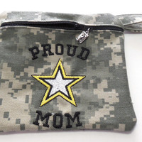 Embroidered Army ACU Zip Pouch, Gadget Purse, Cosmetic Bag, Coin Purse