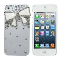 Lumii Ark 3D Bling Crystal Design Case for Apple iPhone 5 - White with White Rhinestone Bow