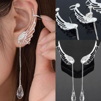 CREYUG3 1 Pair Angel Wing Stylist Crystal Silver Plated Earrings Drop Dangle Ear Stud Cuff Clip = 1946605700