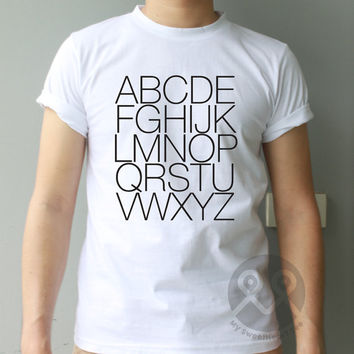A to Z alphabet style hipster tee tumblr t-shirt graphic tee unisex t shirt