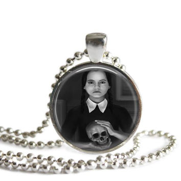 Wednesday Addams Holding a Skull Silver Plated Picture Pendant Necklace