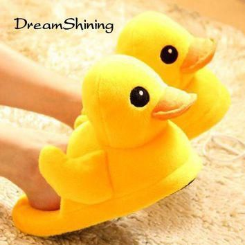 DreamShining New Cute Couple Cotton Slippers Large Yellow Duck Doll Small Floor Carpet