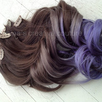 "Ombre Hair Extensions, Purple Haze, Dark Brown Hair, Purple Hair, Bohemian Hair,(7) Piece, 18""/Custom Your Own"