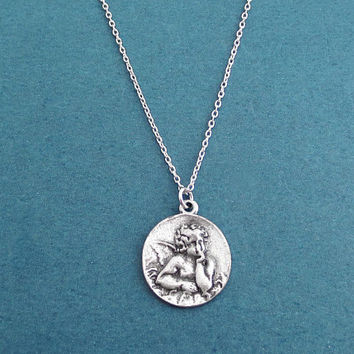 Thinking angel, Vintage, Coin, Antique silver, Necklace, Birthday, Best friends, Sister, Gift, Jewellery